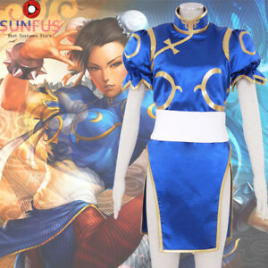 Details About Halloween Street Fighter Chun Li Blue Uniform Cosplay Adult  Costume Movie