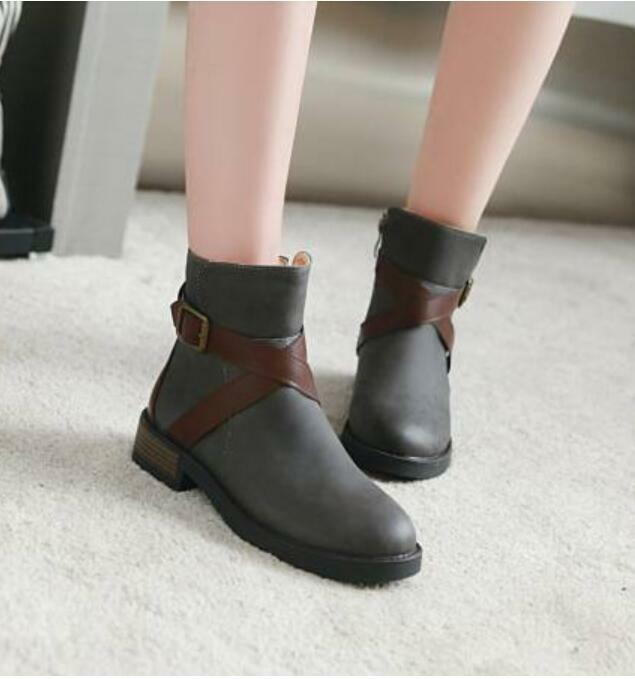Womens Buckle Ankle Boots Casual Fashion Suede Flat Heel shoes Oxford British