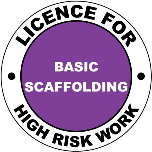 Hard Hat High Risk Licenced Basic Scaffolding Sticker 50mm WHS OHS