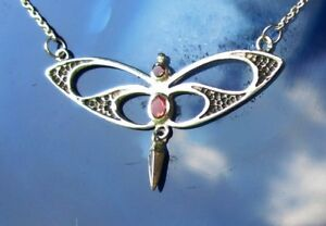 Necklace-925-Sterling-Silver-Butterfly-Stylized-with-Carnelian