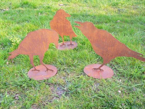 RABE Krähe Vogel 26x35cm Rost Edelrost Metall Gartendekoration Tier Vögel Raben
