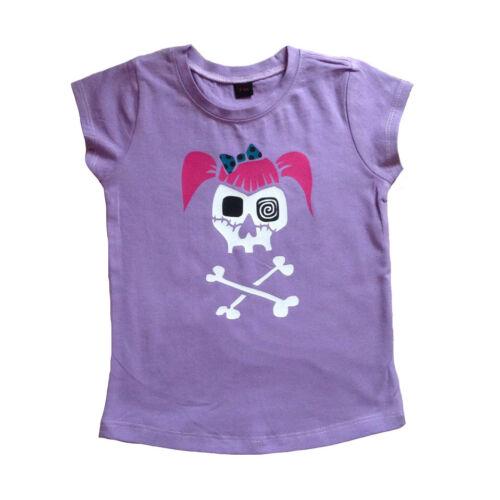 Girls Lilac Rockabilly Skull T-shirt Punk Rockabilly Tattoo Alternatots 2-10y