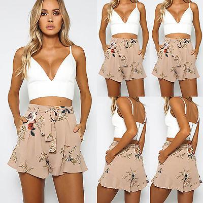 Women's Summer Fashion Casual Floral Print Beach Shorts High Waist Short Pants