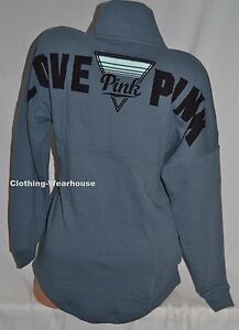 8efe767d94ca9 Details about Victoria's Secret PINK Chrome Blue Varsity Quarter Snap  Pullover Sweatshirt XS