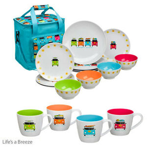 C&er Smiles VW 12pc Melamine Dinner Set.PLUS Mugs Dinnerware CaravanMotorHome 5023412861132 | eBay  sc 1 st  eBay & Camper Smiles VW 12pc Melamine Dinner Set.PLUS Mugs Dinnerware ...