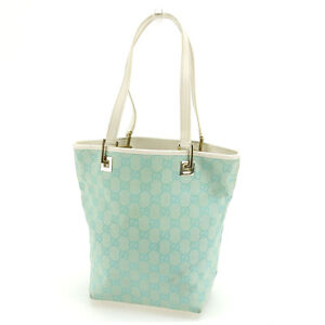 Gucci-Tote-bag-GG-Blue-White-Woman-Authentic-Used-D1386