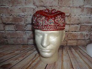Vintage Handcrafted Kufi Red Beaded Hat Skull Cap Beanie Velvet Middle Eastern