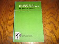Experiments on Decisions Under Risk:The Expected Utility Hypothesis 1980 Shoemak