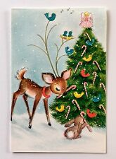 Unused HALLMARK Vintage Card Deer Christmas Tree Bunny Bluebird Angel Candy Cane