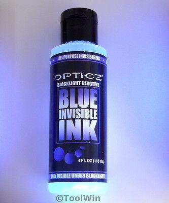 4 oz Bottle Invisible Ink UV Blacklight Reactive Bright Blue Ultraviolet NEW
