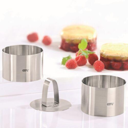 GEFU Speiseformer rund Forma 3tlg.Dessertringe Speiseringe Dessertformer NEU