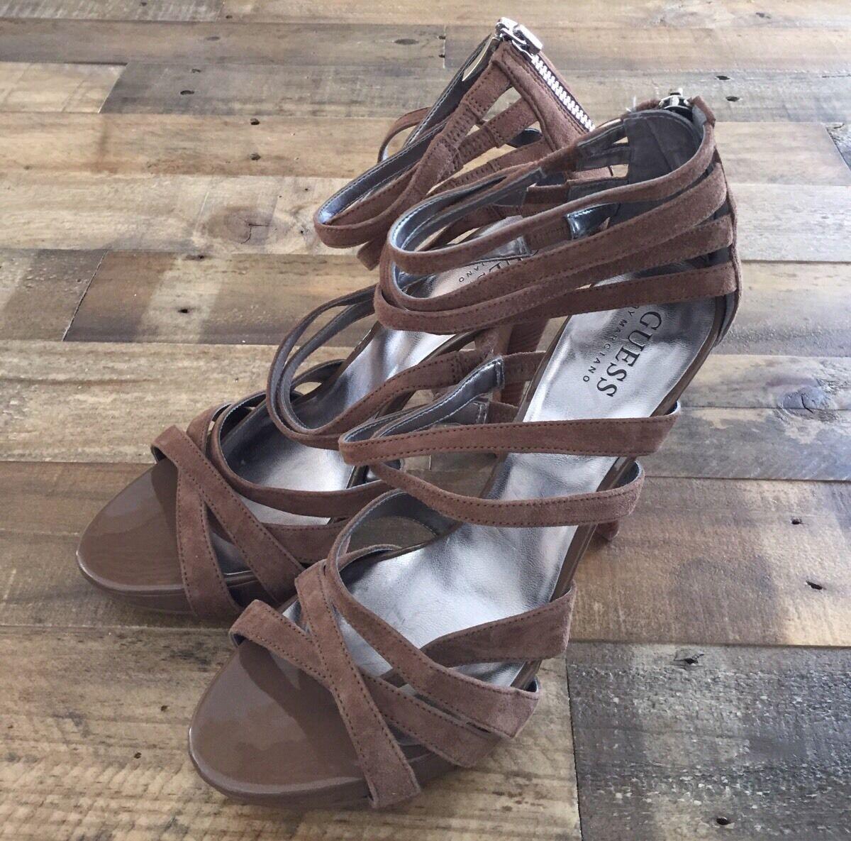 Guess By Marciano Braun Größe Leder Heel Sandales Größe Braun 9.5 e41c7f