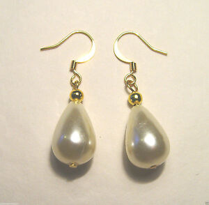 Image Is Loading Vintage Peardrop 15mm Pearl Earrings Yellow Gold Plated