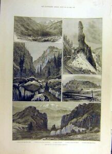 Original-Old-Antique-Print-1884-Denver-Rio-Grande-Railway-America-New-Mexico