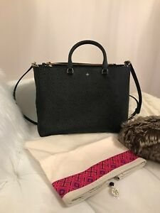 0d5d74aa56f Image is loading tory-burch-black-robinson-large-zip-tote