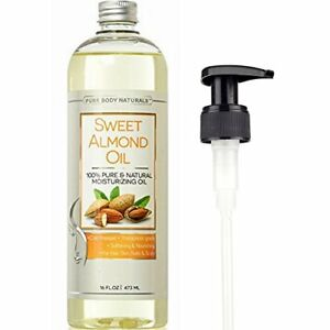 Natural Cold Pressed Sweet Almond Moisturizing Oil for Hair Skin & Nails - 16 oz