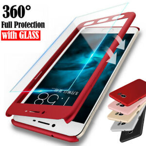 promo code 1b310 baa56 Details about For Samsung J4 J6 Plus J8 / J3 J5 J7 Pro 360° Full Cover Case  + Tempered Glass