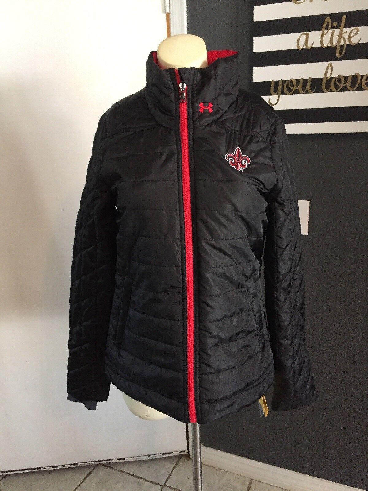 5915e165da N3 Under Armour UA Cold Gear Black Storm Quilt Puffer Jacket Size M Raging  Cajun