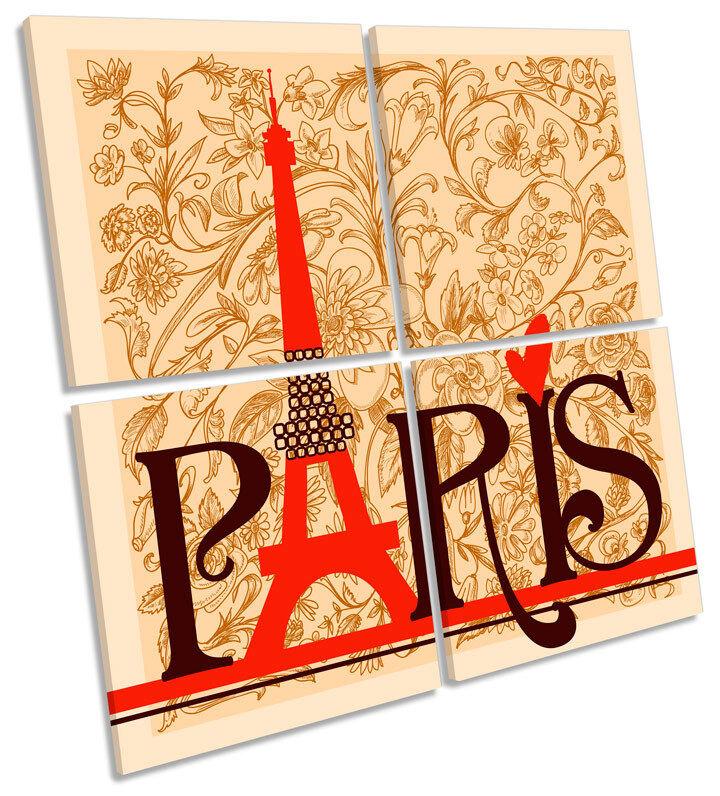 Paris Eiffel Tower Vintage Floral MULTI CANVAS WALL ART Square Picture