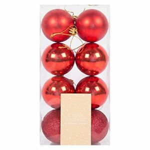 Christmas-Bauble-GLITTER-ALBERO-NATALE-ADDOBBO-DA-APPENDERE-PALLA-foto-Bauble-Decor-Rosso