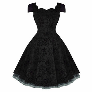 Hearts-and-Roses-London-Black-Tattoo-Flare-50s-Vintage-Party-Prom-Swing-Dress