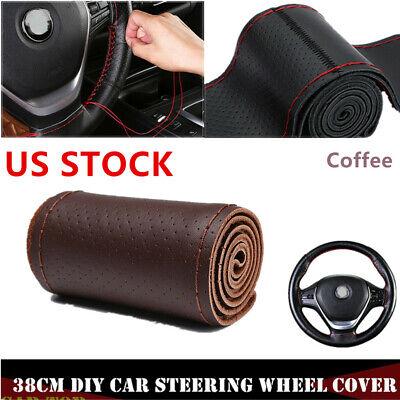 Coffee 38cm DIY Genuine Leather Car Steering Wheel Cover Embossing Needle/&Thread
