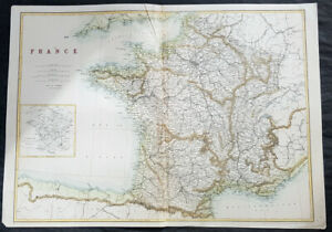 1860-Cassel-Petter-amp-Galpin-Large-Antique-Map-of-France