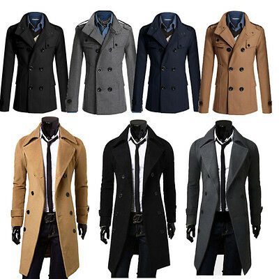 UK STOCK Mens Gent Slim Fit Double Breasted Overcoat Trench Coat Jacket Outwear