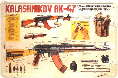 Retro Blechschild 20x30 russisches Maschinengewehr Kalashnikov AK 47