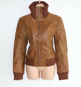 Women-039-s-Vintage-KAOS-By-AULUNA-Brown-100-Leather-Bomber-Jacket-Coat-Size-UK14