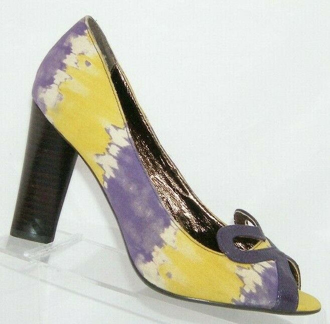 Naughty Monkey 'Heart Felt' canvas purple yellow tie dye peep toe heels 8.5M