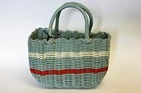 Retro woven small shopping basket 1940s and 50s vintage style striped bag