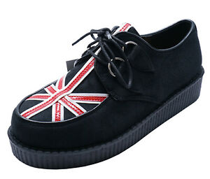 Womens Flag Lace Up Creeper Brogues Platform Smart Casual Retro Shoes Sizes 3 8 Ebay