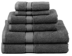 Premium Bamboo Cotton 6 Piece Towel Set (2 Bath Towels, 2 Hand Towels and 2 Wash