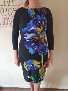 Joseph-ribkoff-Black-Multicolored-Floral-Bodycon-dress-Size-10