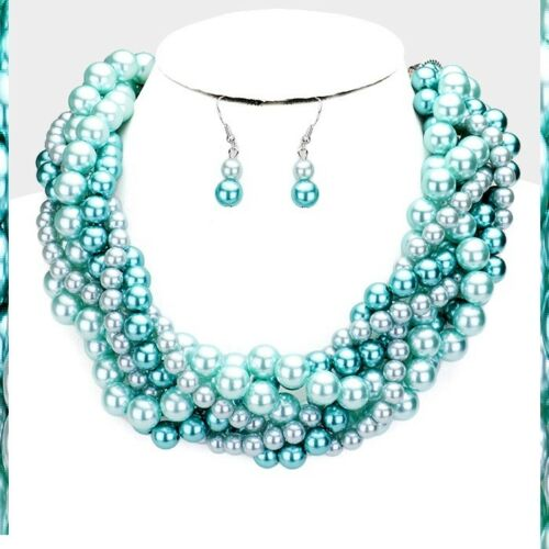 Statement Chunky Multi Layered Twisted Beaded Strand Pearl Necklace Earrings #2