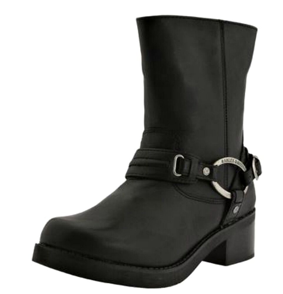 Harley-Davidson® Women's CHRISTA Black Leather Motorcycle Riding Boots D85298
