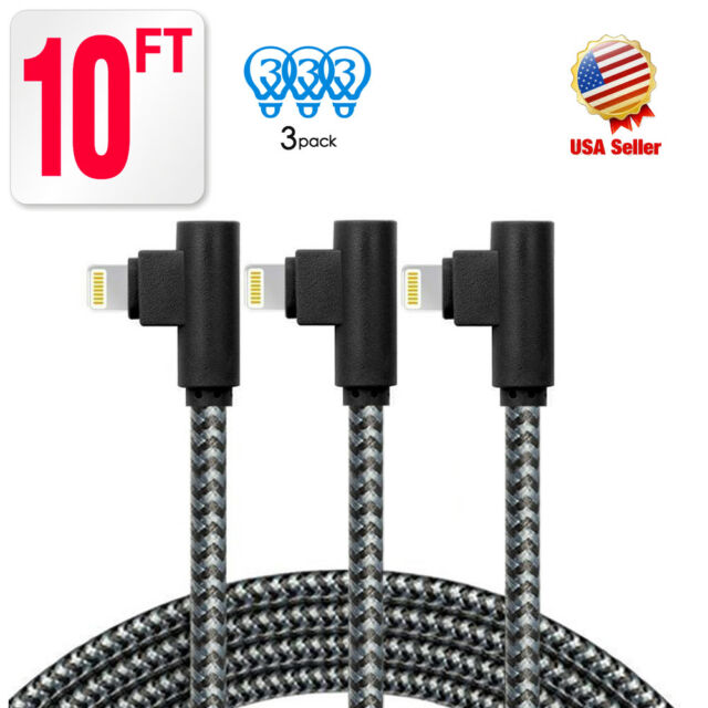 save off d4e21 cbd3b Braided10ft Extra Long iPhone Cable Right Angle lightning Cable USB Charger  Cord