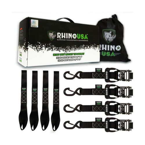 5,208 Break Strength - 4 ... RHINO USA Ratchet Straps Heavy Duty Tie Down Set