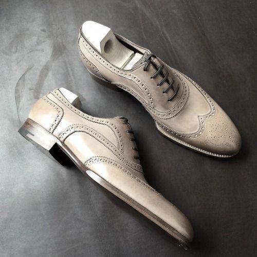bellissimo Handmade Uomo Patina bianca Wingtips Oxfords for Uomo custom custom custom leather scarpe for men  scelte con prezzo basso