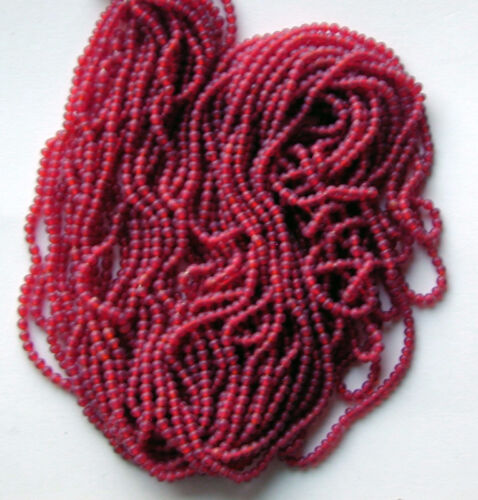 Vintage Raspberry Red Color Lined Glass Beads Long Hank Bunch 12 beads per inch