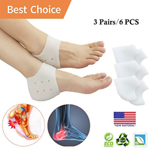 3 Pairs Plantar Fasciitis Inserts Heel Pads Cushion for Heel Pain Dry Cracked