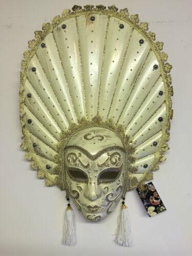 XL Crème /& gold Mardis Gras Carnaval Masque wall hanging ~ glands /& paillettes 14477