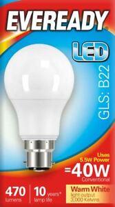10-x-5-5w-40w-LED-GLS-Bayonet-BC-B22-Light-Bulb-Warm-White-40-Watt-Eveready