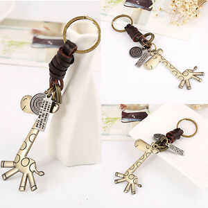 Useful-Creative-Key-Button-Small-Gift-Alloy-Giraffe-Retro-Woven-Deer-Key