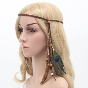 Fashion-Women-Girl-Bohemian-Party-Peacock-Feather-Headband-Hair-Band-Rope-Kit