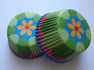 Pretty Flower Cupcake Liners Baking Cup 50 Standard Size Green Yellow Wedding
