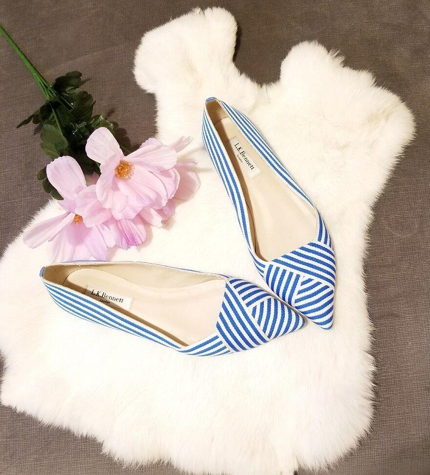 Authentic L.K. Bennet Ballet blue and white Flats Grossgrain sz 38.5 (8 us )
