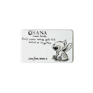 7e0e9320a Disney Lilo and Stitch Ohana quote personalised on metal wallet card ...