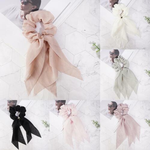 Women Chiffon Bow Long Ribbon Hair Scarf Elastic Scrunchie Tie Best Hair Ru C0H8
